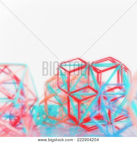 Coloured three-dimensional model of geometric solids defocused - square abstract blurred background with space for copy.