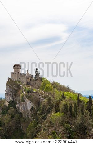 Rocca Cesta or Second Tower in San Marino.Republic of San Marino.Rocca Cesta or Second Tower is one of the Towers located in San Marino.