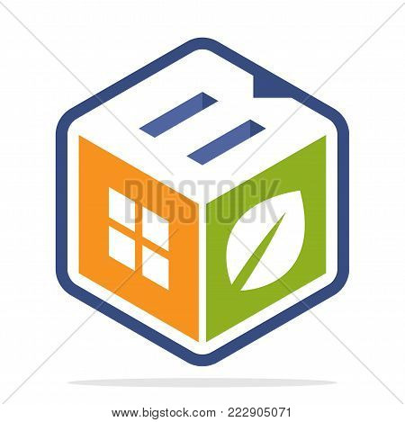 icon logo construction business with the concept of environmentally friendly homes and the initial of the letter B