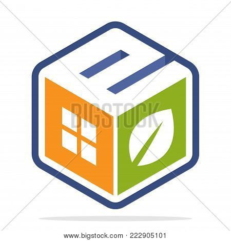 icon logo construction business with the concept of environmentally friendly homes and the initial of the letter E