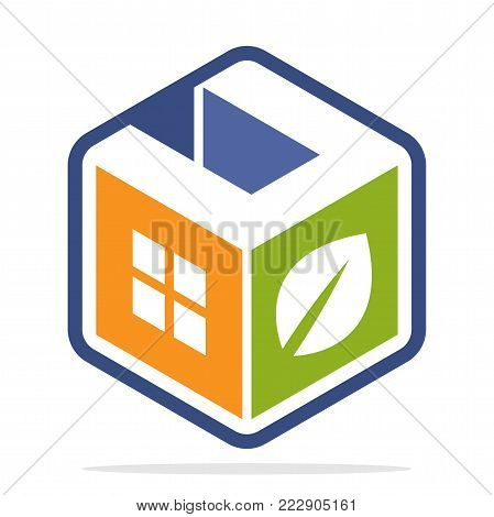 icon logo construction business with the concept of environmentally friendly homes and the initial of the letter U