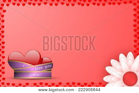two hearts tied with ribbon symbol of eternal love and fidelity with white flower and pestle for writing