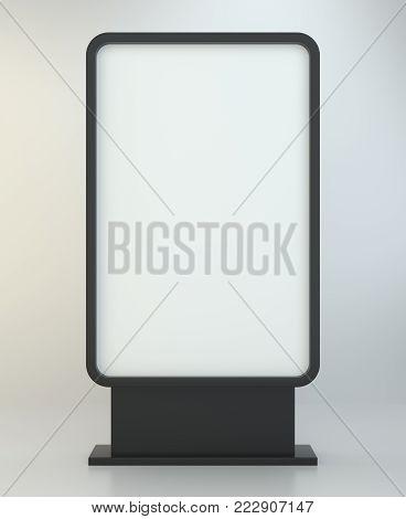 Advertising digital signage. Multimedia stand. Outdoor advertising banner or Lightbox. 3d illustration.