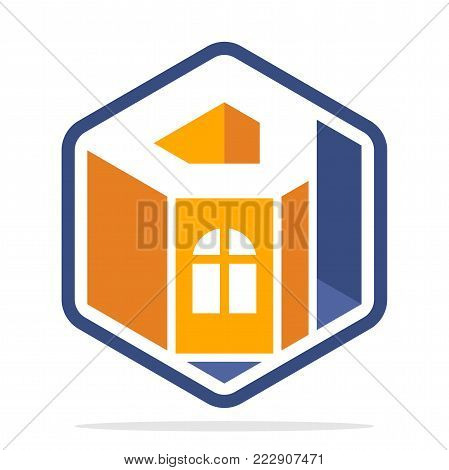 Icon logo for business development of construction services, in the hexagon shape with the initial of the letter D