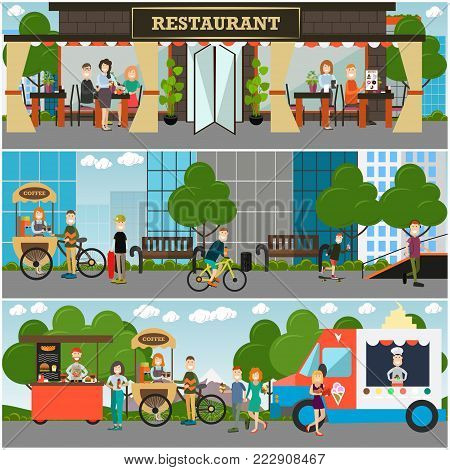 Vector street food and drink establishment set. Restaurant or cafe, coffee bike, fast food cart, ice cream truck with sellers and buyers. Flat style design.