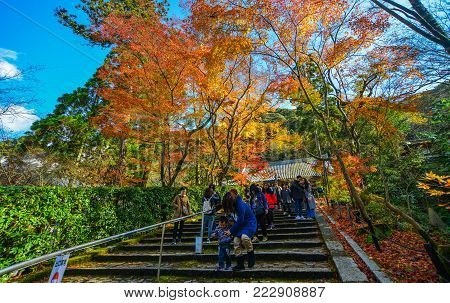 Kyoto, Japan - Nov 28, 2016. People Walking On Stairs At Autumn Park In Kyoto, Japan. Kyoto Was The