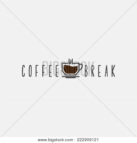 Coffe Break. coffee shop logo template natural abstract coffee cup with steam coffee house emblem creative cafe logotype modern trendy symbol design vector illustration
