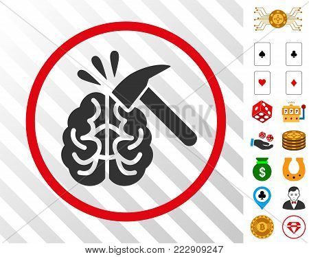Brain Impact gray pictograph inside red circle with bonus gambling design elements. Vector illustration style is flat iconic symbols. Designed for casino websites. poster