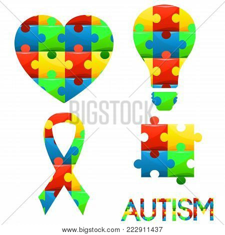 World Autism Awareness Day.puzzle Symbol Of Autism In Different Colors. Medical,healthcare Related D
