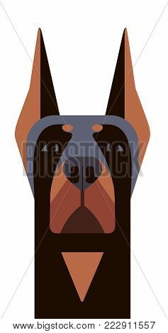Head of Doberman in geometric style on white background