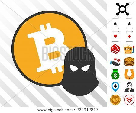 Bitcoin Spy pictograph with bonus casino pictures. Vector illustration style is flat iconic symbols. Designed for casino apps.