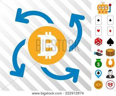 Bitcoin Swirl Cashout icon with bonus casino graphic icons. Vector illustration style is flat iconic symbols. Designed for gamble software.