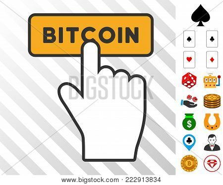 Press Bitcoin Button pictograph with bonus casino icons. Vector illustration style is flat iconic symbols. Designed for casino apps.