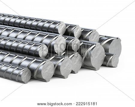 Reinforcements steel bars heap. Building armature. 3d illustration isolated on white background.