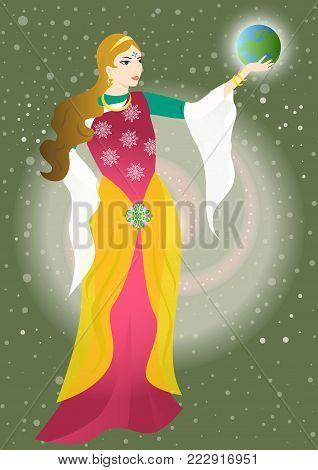 the illustration - card for tarot - the priestess.
