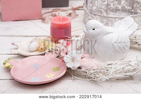 Happy Easter Decoration For Greeting Card. Wooden Bird, Gingerbread Easter Cookies And Basket With F