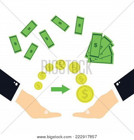 The transfer of money.Hands transferring money on a white background