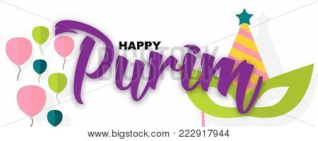 Happy Purim, jewish holiday background. Purim carnival mask, balloons, Happy Purim handwritten calligraphic text isolated on white background.