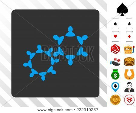 Collaboration blue pictograph inside gray rounded rectangle with bonus casino pictographs. Vector illustration style is flat iconic symbols. Designed for gambling software.