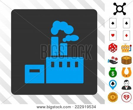Factory blue icon inside gray rounded square with bonus gambling graphic icons. Vector illustration style is flat iconic symbols. Designed for gamble websites.