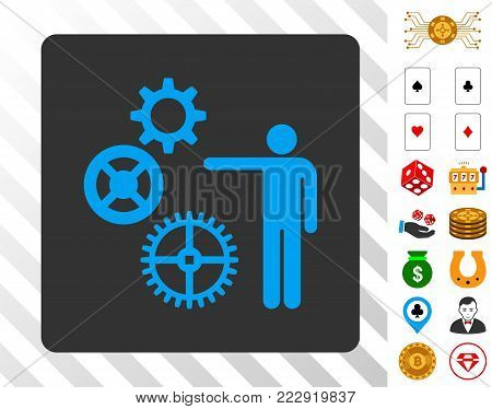 Gears Project blue icon inside gray rounded rectangle with bonus casino pictures. Vector illustration style is flat iconic symbols. Designed for gambling websites.