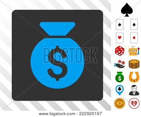Money Bag blue icon inside gray rounded rectangle with bonus casino symbols. Vector illustration style is flat iconic symbols. Designed for casino gui.