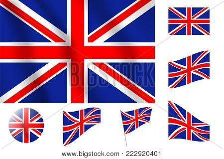 Britain Flag. Realistic Vector Illustration Flag. National Symbol Design.