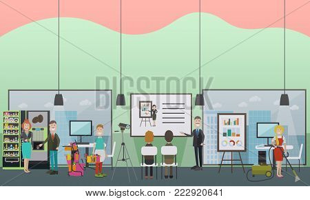 Professional office cleaning services vector illustration. Cleaning lady and cleaner male doing the vacuuming, etc. Cleaning business advertising concept. Flat style design.