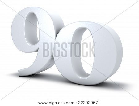 number ninety on white background - 3d rendering