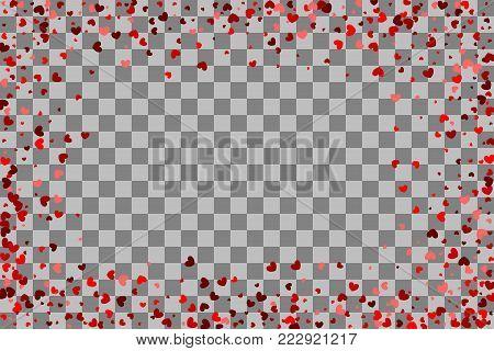 Romantic transparent background illustration random falling. Paper Valentine origami banner. Red heart holiday frame. Valentines Day confetti shimmer hearts. Love vector decoration design.