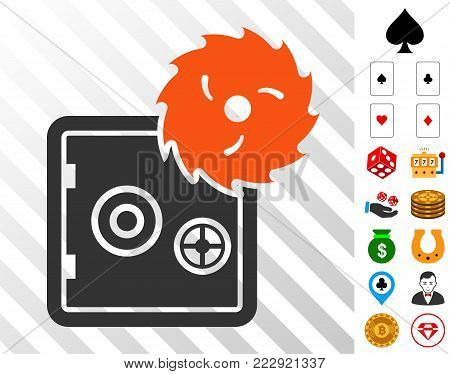 Break Banking Safe icon with bonus gambling pictograms. Vector illustration style is flat iconic symbols. Designed for gambling software.