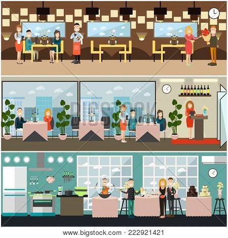 Vector restaurant interior set with receptionist, visitors having dinner, waiter and waitress taking order and serving meals. Flat style design illustration.