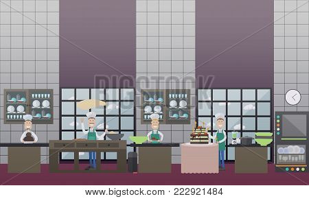 Vector illustration of confectioner decorating big chocolate and fruit cake with two tiers, baker making dough. Restaurant kitchen, confectionery, bakery or candy store interior, flat style design.