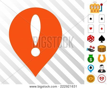 Danger Map Pointer icon with bonus gamble clip art. Vector illustration style is flat iconic symbols. Designed for gambling apps.