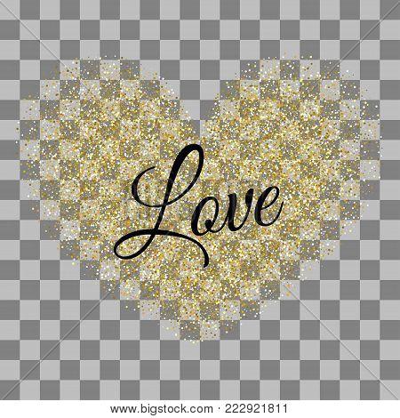 Shimmer gold hearts. Frame decoration design Valentine holiday. Origami decoration. Greeting text. Golden heart shape. Vector illustration Valentines Day background. Love random falling paper confetti
