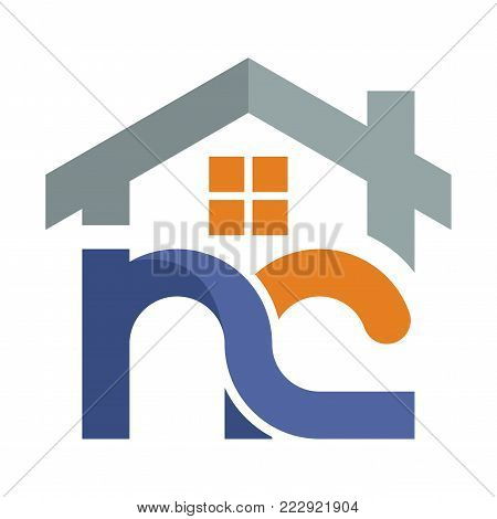 Icon logo for the construction services business development, with a combination of initials letter  N & C