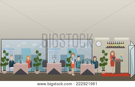 Vector illustration of restaurant interior with receptionist, visitors sitting at tables and waitress taking order. Flat style design.