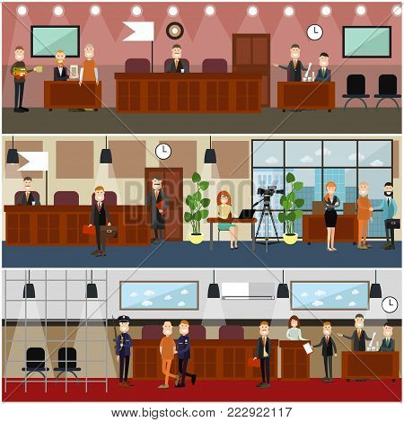 Vector set of legal trial scenes with judge, lawyers questioning witness, security guard, defendant, woman recording court hearing. Courtroom interior. Flat style design illustration.