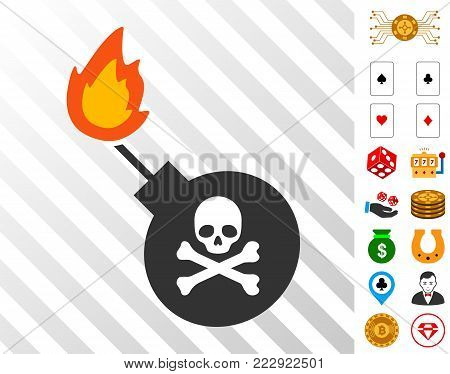 Mortal Bomb icon with bonus gamble icons. Vector illustration style is flat iconic symbols. Designed for casino websites.