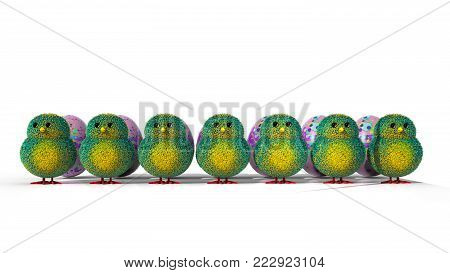 A 3D illustration featuring a row of easter chicks with multi colors, green and yellow feathers facing forward with purple Easter eggs behind each chick.