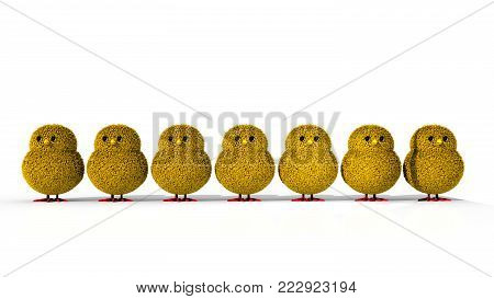 A 3D illustration featuring a row of 7 yellow easter chicks facing forward.