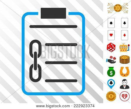 Blockchain Contract pictograph with bonus gambling graphic icons. Vector illustration style is flat iconic symbols. Designed for gambling apps.