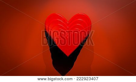 A 3D illustration of stacked red valentine's day hearts on a red background wall.