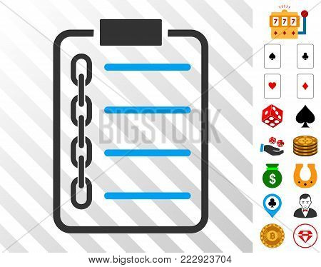 Blockchain Contract icon with bonus gamble icons. Vector illustration style is flat iconic symbols. Designed for casino software.