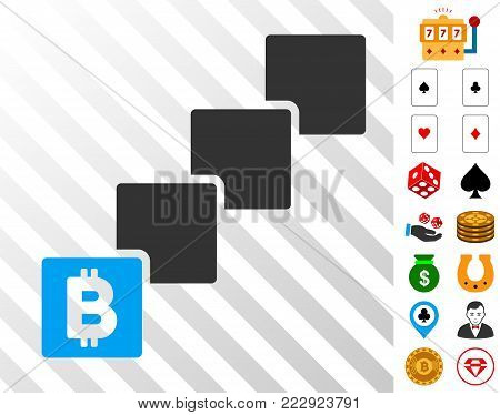 Bitcoin Blockchain pictograph with bonus gambling images. Vector illustration style is flat iconic symbols. Designed for gamble ui.