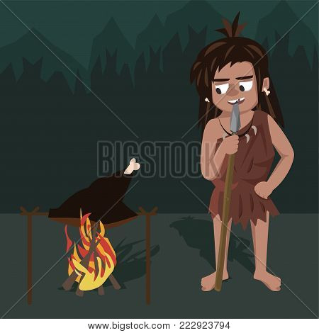 caveman roasts meat at stake - funny vector cartoon illustration in flat style