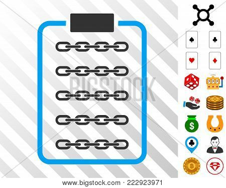 Blockchain List Page icon with bonus casino images. Vector illustration style is flat iconic symbols. Designed for casino apps.