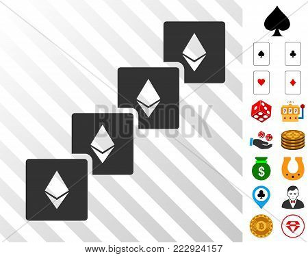Ethereum Blockchain pictograph with bonus gamble pictographs. Vector illustration style is flat iconic symbols. Designed for gambling websites.
