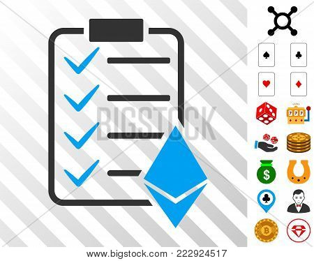 Ethereum Smart Contract pictograph with bonus casino design elements. Vector illustration style is flat iconic symbols. Designed for casino software.