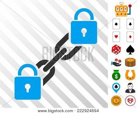 Lock Blockchain icon with bonus gambling pictographs. Vector illustration style is flat iconic symbols. Designed for casino ui.